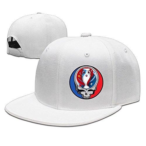 CEDAEI GratefulDead & UEFA EURO Flat Bill Snapback Adjustable Cross-country Hats White