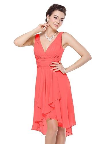 Ever Pretty V Neck Empire Waist Hi-Lo Bridesmaids Dress 03644