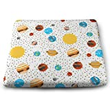 MODREACH Novelty Perfect Indoor Outdoor Square Seat Cushion - Planet Star Planet Star Printed Chair Pads Memory Foam Filled for Patio/Office/Kitchen/Desk/Travel/Kids/Yoga