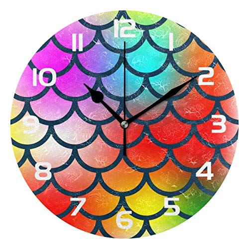 Dozili Colorful Mermaid Fish Scale Decorative Wooden Round W