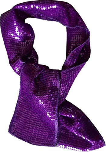 KVR Fashion Party Dance Vintage Sparkle Long girl teen Sequin polyester net scarf headband cum waist belt (Purple-10cm wide) ()