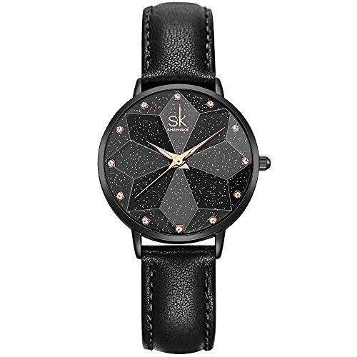 (SHENGKE Creative Starry Star Women Watch with Stainless Steel Mesh Band Genuine Leather Elegant Women Watches (Starry-Genuine Leather-Black))