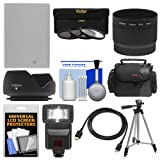 Essentials Bundle for Canon Powershot G15 & G16 with NB-10L Battery + Flash + Case + Tripod + HDMI Cable + 3 Filters + Hood + Accessory Kit