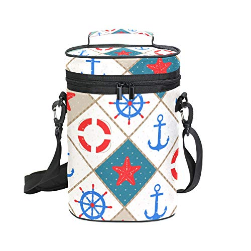 Insulated Wine Tote Carrier Anchor Starfish Nautical 2 Bottle Wine Carry Cooler Tote Bag for Travel or Picnic, Perfect Wine Lover Gift ()