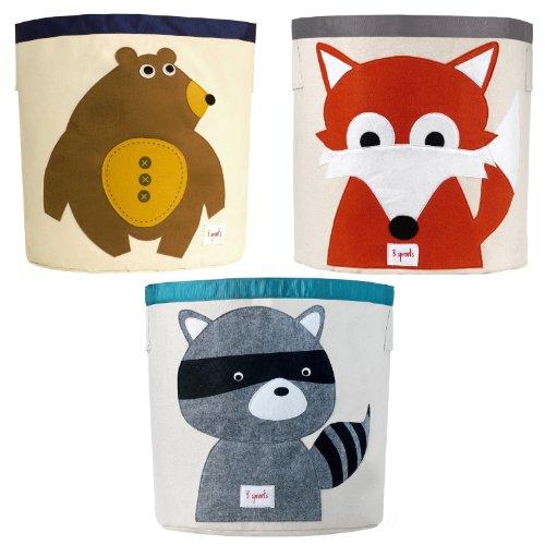 3 Sprouts Storage Bin, 3 Pack - Bear, Fox & Racoon