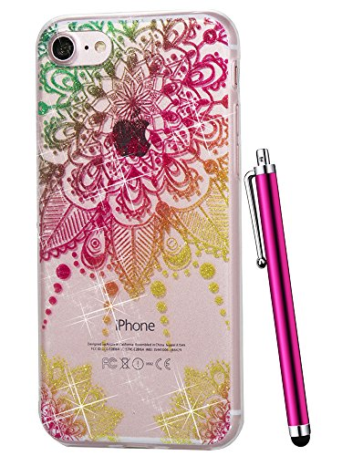 iPhone 6S Case for Girls,iPhone 6 Case for Women,CAIYUNL Clear Floral Pattern Glitter Bling Design TPU Cover Soft Slim TPU Flexible Silicone Rubber Bumper for Apple iPhone 6S 6&Stylus-Colorful flower
