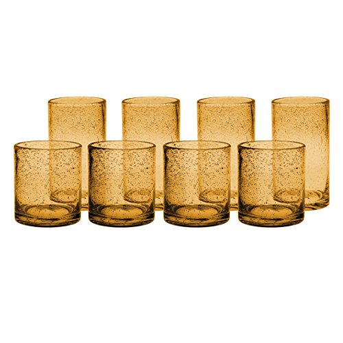 Artland Iris Amber Seeded Double Old Fashioned 8 Piece Glass and Highball Tumbler Set
