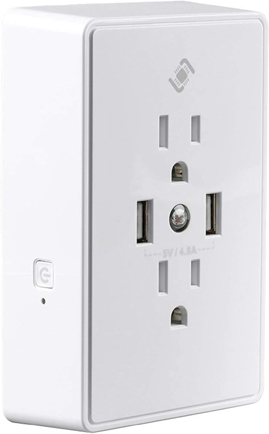Monoprice Wireless Smart Plug Wall Outlet - White, with 2 Receptacles 15A, 2 USB 4.8A Ports, Night Light, No Hub Required, Works W/Alexa & Google Home