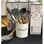 Silicone Cooking Utensils Set, 8 Piece Kitchen Utensil Set with Natural Acacia Wooden Handles, BPA Free Silicone Kitchen Cooking Utensils, Safe Cooking Tools for Non-stick Cookware, Best Holiday Gift 14 COMPLETE SET OF 8 COOKING UTENSILS: Are you looking for the Best Utensil Set for your cooking needs? Professional or home cook, our Non-stick Utensils gives you all the cooking tools needed to complement your kitchen! ELLO HOME Cooking Set includes 1 Silicone Serving Spoon, 1 Slotted Spoon, 1 Slotted Silicone Spatula, 1 Silicone Tongs, 1 Spaghetti Server, 1 Soup Ladle, 1 Pastry Brush, and 1 Silicone Spoon Rest to keep your stove and counters clean while cooking your meals. PREMIUM QUALITY: Are you looking for High-End Stylish Cooking Utensils to make tasty meals for your family? ELLO HOME offers you this much more! We are passionate about quality + simplicity. Careful thought was used to craft our beautiful rustic cooking set assuring safety and style. Our premium quality kitchen tools feature silicone heads that won't scratch pan surfaces, which makes them versatile for all types of cookware, keeping your non-stick pans in perfect condition. HIGH FOOD GRADE SILICONE: Silicone is the ideal alternative to harsh stainless steel utensils and bamboo utensils that can scrape and damage your non-stick pots and pans. Avoid those harmful plastic and nylon utensils that leak harmful chemicals into your food. Our Durable BPA Free, Food Grade Silicone Cooking Set is heat-resistant up to 464°F, so you can trust our cooking tools will not melt while cooking.