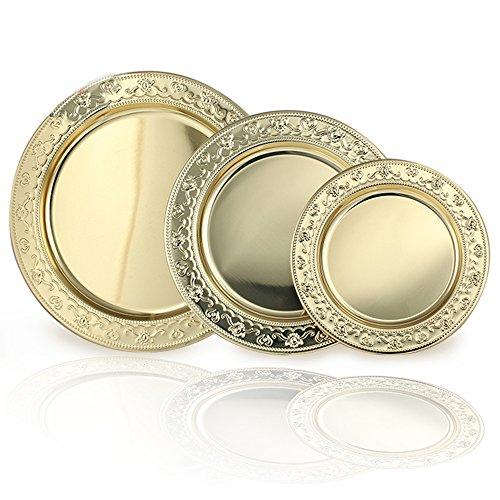 Best-selling Eaglood 24Cm,30Cm, 35Cm, 40Cm Stainless Steel Golden Round Dish Plate/Gold Serving Tray/Big Fruit Plate/Platos Dorados/Metal