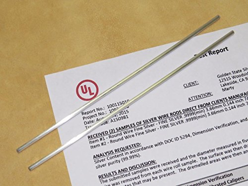 Golden State Silver 9999 Pure Silver 7 Gauge Colloidal Silver Wire Rod Sets w/ Flush Cut Ends - UL Verified 99.99% (Set of 10