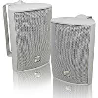 "Dual Electronics LU43PW 4"" 3-Way High Bookshelf Studio Monitor Speakers (White)"