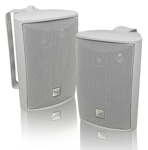 Dual Electronics LU43PW 3-Way High Performance Outdoor Indoor Speakers with Powerful Bass | Effortless Mounting Swivel Brackets | All Weather Resistance | Expansive Stereo Sound Coverage | Sold in Pairs