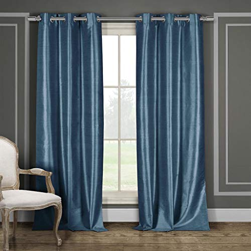 - Duck River Textiles Bali Faux Silk Grommet Top Window Curtain Drapes For Bedroom, Livingroom, Kids Room, Children, Nursery - Assorted Colors - Set of 2 Panels, 38