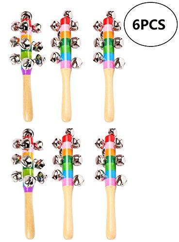 Wooden Bells Jingle Stick Shaker Rattle Baby Kids Children Musical Toys,6pcs ()