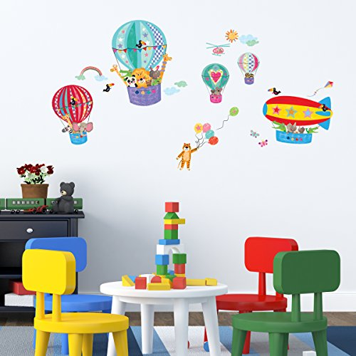 Decowall DA 1610B Animals In Hot Air Balloons Kids Wall Decals Wall Stickers  Peel And Stick Removable Wall Stickers For Kids Nursery Bedroom Living Room Part 61