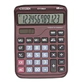 Electronic Desktop Calculator with 12 Digit Large Display, Solar Battery LCD Display Office Calculator (brown)