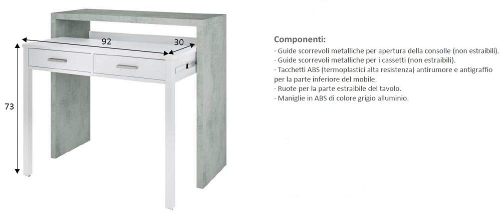 Salone Negozio Online Kit SCRIVANIA SALVASPAZIO Estensibile 36X99X88H Bianco//Cemento