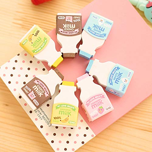 Nice Stationery - Hariier 2pcs/Pack Cute Milk Bottle Design Eraser Nice Gift Funny Student Gift Kids's Toy Office School Stationery Supplies D14