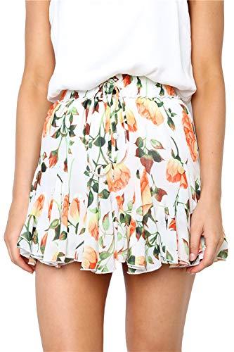 Alelly Women's Summer Cute High Waist Ruffle Skirt Floral Print Swing Beach Mini Skirt White