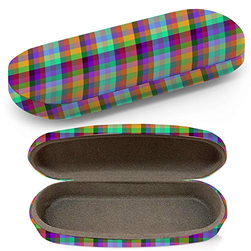 Hard Shell Glasses Protective Case With Cleaning Cloth Eyeglasses Sunglasses - Traditional Scottish Plaid Tartan Cell