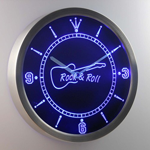nc0296-b Rock and Roll Guitar Music Neon Sign LED Wall Clock
