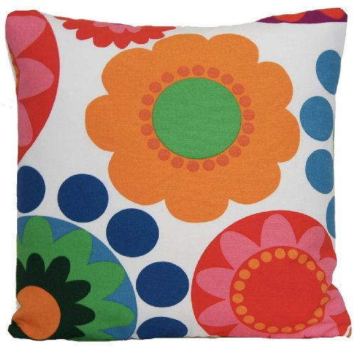 Red & Orange Flowers Decorative Pillow Case Retro Floral Cushion Cover Ikea Fabric (Ikea Floral Throw Pillow)