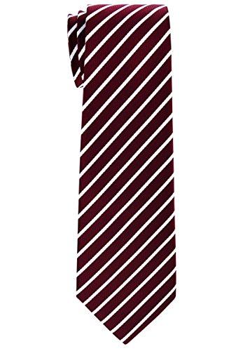 White Stripe Boys Tie (Retreez Thin Regimental Striped Woven Boy's Tie (8-10 years) - Burgundy with White Stripe)
