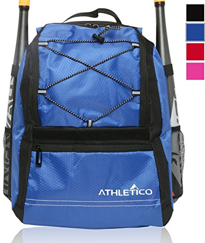 Athletico Youth Baseball Bag - Bat Backpack for Baseball, T-Ball & Softball Equipment & Gear | Holds Bat, Helmet, Glove | Fence Hook (Blue)