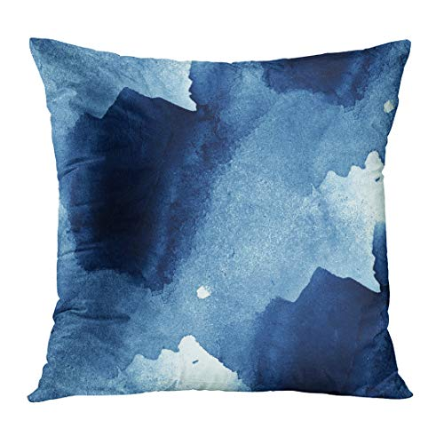 lowcases Artistic Colorful Pattern Water Sea Waves Blue Abstract Watercolor Paint Hand Border Brush Color Faded Custom Square Size 16 x 16 Inches Home Decor Cushion Pillow Cover ()