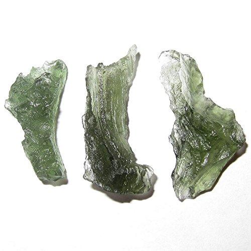 Meteorite Moldavite Cluster 50 Set of 3 Green Tektite Gits of the Universe Space Stones Europe 23mm