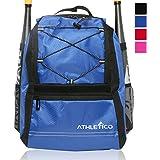 Athletico Youth Baseball Bat Bag - Backpack for Baseball, T-Ball & Softball Equipment & Gear for Boys & Girls   Holds Bat, Helmet, Glove   Fence Hook
