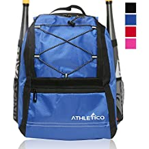 Athletico Youth Baseball Bag - Bat Backpack for Baseball, T-Ball & Softball Equipment & Gear for Boys & Girls   Holds Bat, Helmet, Glove   Fence Hook