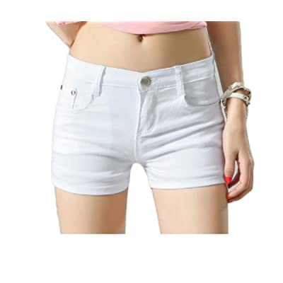 Abetteric Women Short Summer Shorts Skinny Summer Leisure Mulit Color Shorts Jeans White S
