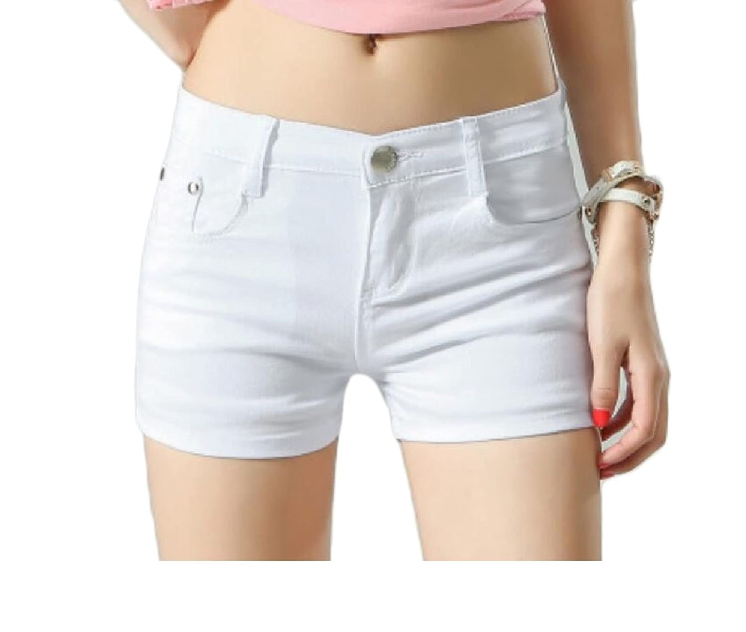 Abetteric Women Short Summer Shorts Skinny Summer Leisure Mulit Color Shorts Jeans White 2X