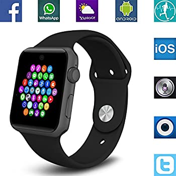 Banaus BS19 Newest SmartWatch with Bluetooth 4.0 Support SIM Watch Phone for Android Samsung Galaxy S4/S5/S6/S7/Note3/Note4/Note5/Note6 HTC Sony LG Xiaomi Huawei ZUK and iPhone 5/5C/5S/6/6S Black
