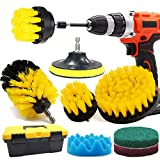 Drill Brush and Scrub Pads, GOH DODD 11 PCS Yellow Power Scrubber Cleaning Kit with Long Reach Attachment in Tool Box For Bathroom Shower Scrubbing, Carpet Cleaning, Grout Scrubbing, and Tile Cleaning