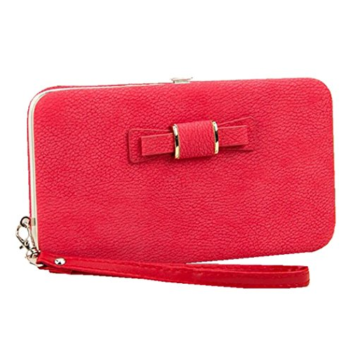 Price comparison product image Ladies Phone Wallet Case Bowknot Leather Clutch Wallet With Wristlet for Credit Cards Cellphone Cover for iPhone X/ 8/ 8 Plus Galaxy S8 S7 (Red)