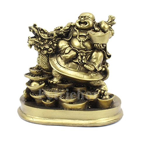 Petrichor Fengshui Laughing Buddha Riding on Dragon and Ingot Home Decor and Gifting (5 Inch)