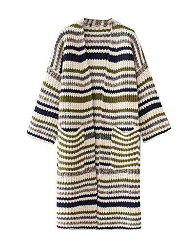 Maglieria Anteriori Giacca Pullover Grün Vita In Battercake Stripe Maglia Donna Alta Top Tempo Cappotto Autunno Manica Lunga A Tasche Donne Libero Moda Casuale Di HwfqA1
