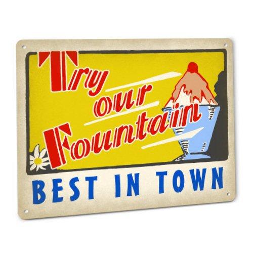 - ShopForAllYou vintage decor wall signs Try Our Fountain Sign Soda Malt Ice Cream Sundae Diner Cafe Burger Drug Store