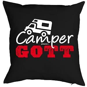 Camper de almohada/funda de cojín sin relleno: Camper Dios/sofá de almohada/regalo para camping de fans
