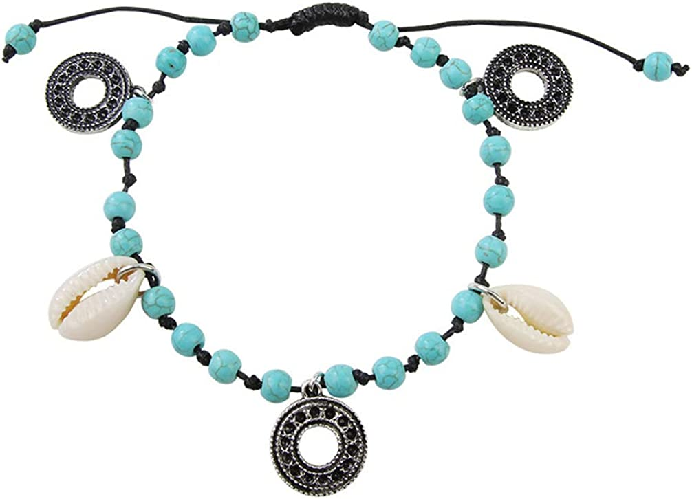 PRETYZOOM Turquoise Ankle Bracelet Blue Anklets Bohemian Summer Beach Style Beads Ankle Bracelet Seashell Boho Foot Jewelry for Women Girl Ladies Gift