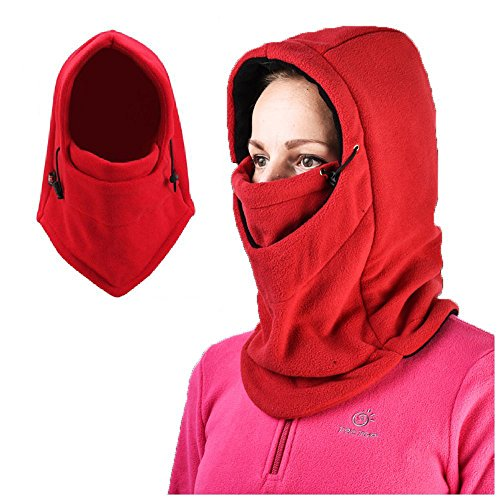 Fleece Balaclava Hood Face Mask, AYAMAYA Full Face Cover Neck Warmer Winter Scarf Hat Mask for Skiing Snowboard Cycling, Red (Head Trip Helmet)