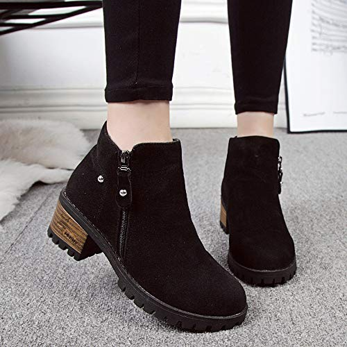 Shoes Ankle 5 Boots Martain Black 37CN Black High squarex Boot 37 Boots EU Boots Zipper Rivets Clearance Suede Women UK 4 Shoes Heeled Ladies 04Hqwv4YP