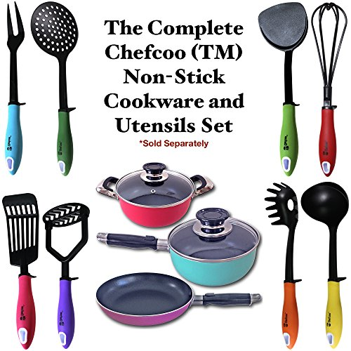 "Cookware Set Non-Stick Color Pot by Chefcooâ""¢ 20cm Frying Pan, 16cm & 20cm Sauce Pans with Glass Lids - Best for Everyday Cooking, Travel, and Gift - Durable with Heat Resistant Handles"