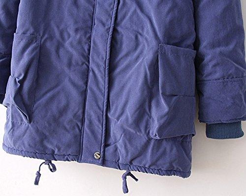 Mujer Azul chaqueta chaqueta invierno Abrigo los acolchada Denim Abajo Chaqueta de Grueso de encapuchada qZqxROC