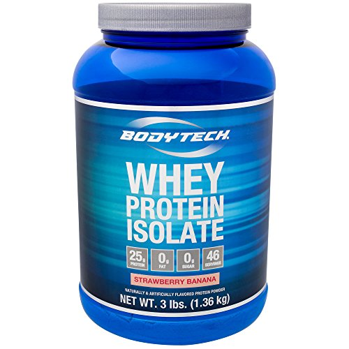(BodyTech Whey Protein Isolate Powder with 25 Grams of Protein per Serving BCAA's Ideal for PostWorkout Muscle Building Growth, Contains Milk Soy Strawberry Banana (3 Pound))