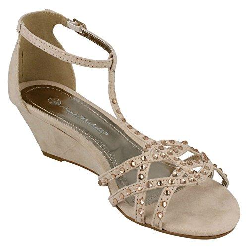 Ladies Anne Michelle Diamante T-Bar Wedge Sandals Nude (Beige) ED9TRPqbi
