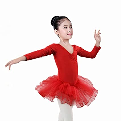 88d71ead1 Amazon.com   Gsha Girls Long Sleeve Ballet Leotard Dance Dress Tutu ...